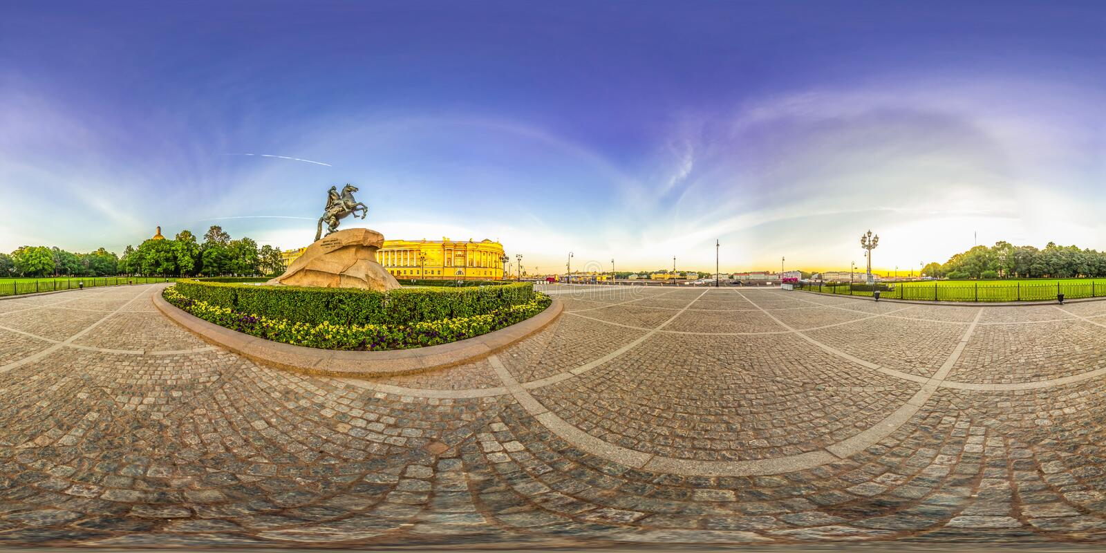Saint-Petersburg - 2018: Bronze Horseman. White nights. Blue sky. 3D spherical panorama with 360 viewing angle. Ready for virtual royalty free stock image