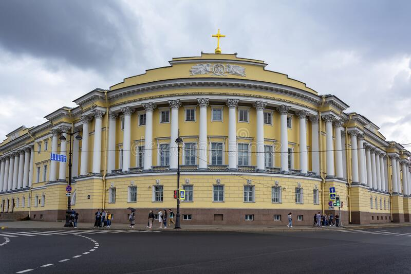 Saint Petersburg, building of the constitutional court of the Russian Federation at the corner of the English embankment and. Saint Petersburg, building of the stock images