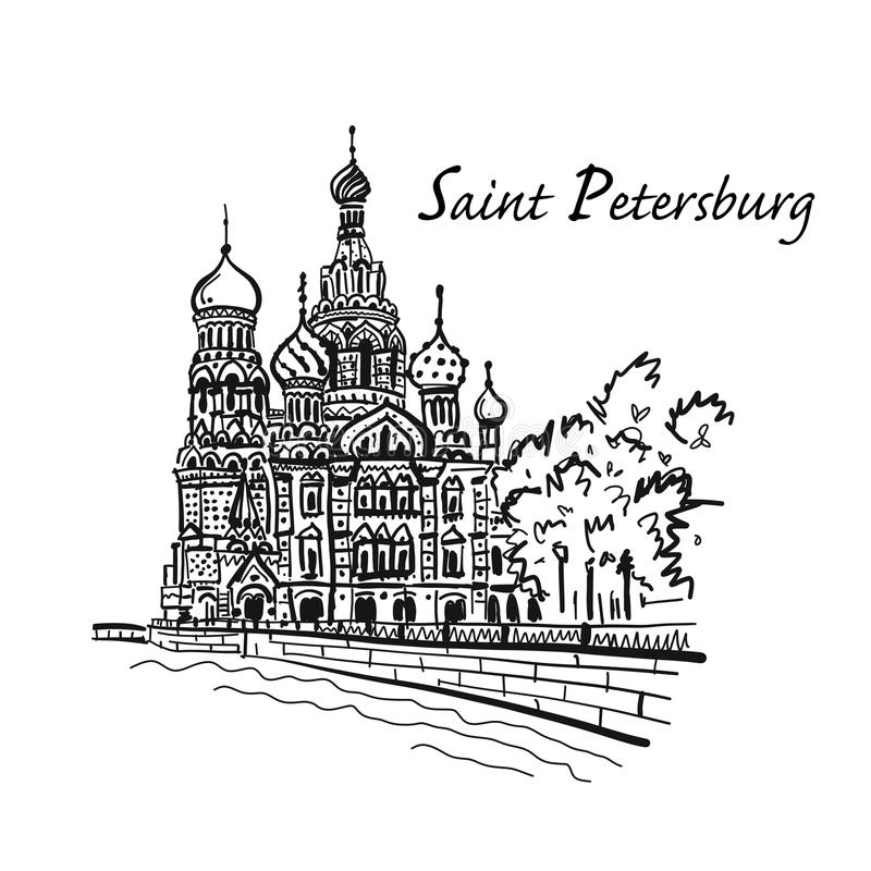 Saint Petersburg. Church of the Saviour on Spilled Blood. Russia. Sketch for your design royalty free illustration
