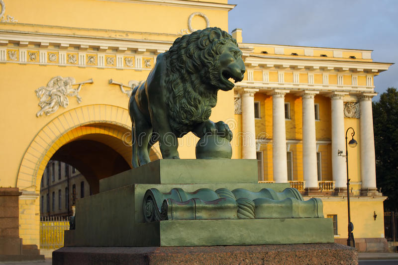 Saint-Petersburg, the figure of a watchdog lion. At the Admiralty embankment royalty free stock photography