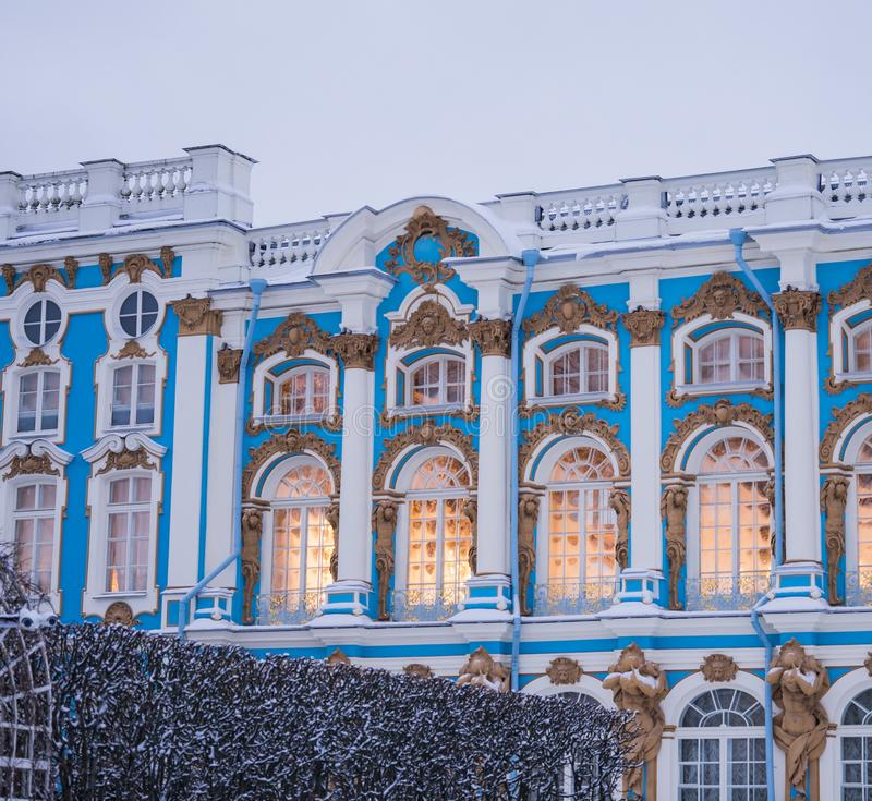Saint-Petersburg historical building blue walls windows. Palace Saint-Petersburg windows architecture hysterical building winter day outdoor royalty free stock photos