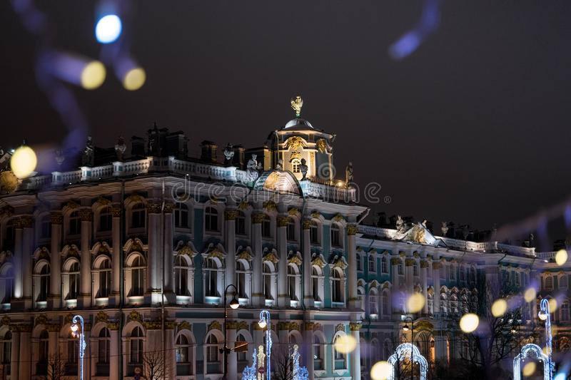 Saint-Petersburg historical building night city. Saint-Petersburg historical building city night garland light bokeh background outdoor architecture royalty free stock photos