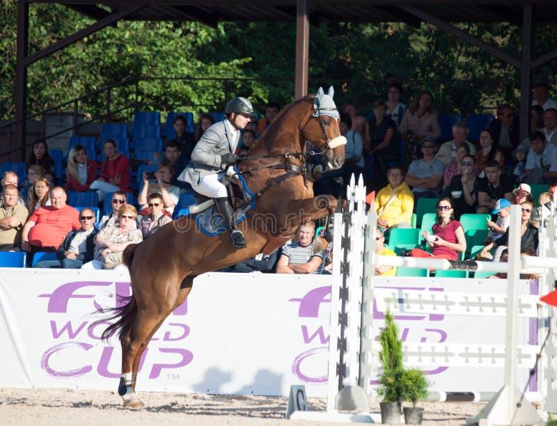 SAINT PETERSBURG-JULY 05: Rider Maxim Kryna on Klooney 26 in CSI3*-W/CSIYH1* International Jumping Grand Prix FEI World Cup stock photo