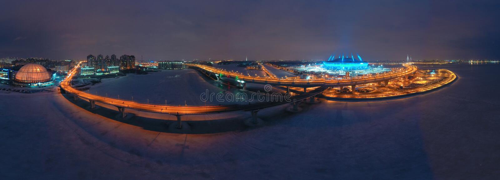 Saint-Petersburg, Krestovsky Island. Russia. The Neva River flows into the Gulf of Finland. High-speed highway. Stadium. Evening. Petersburg. Cities of Russia stock photos