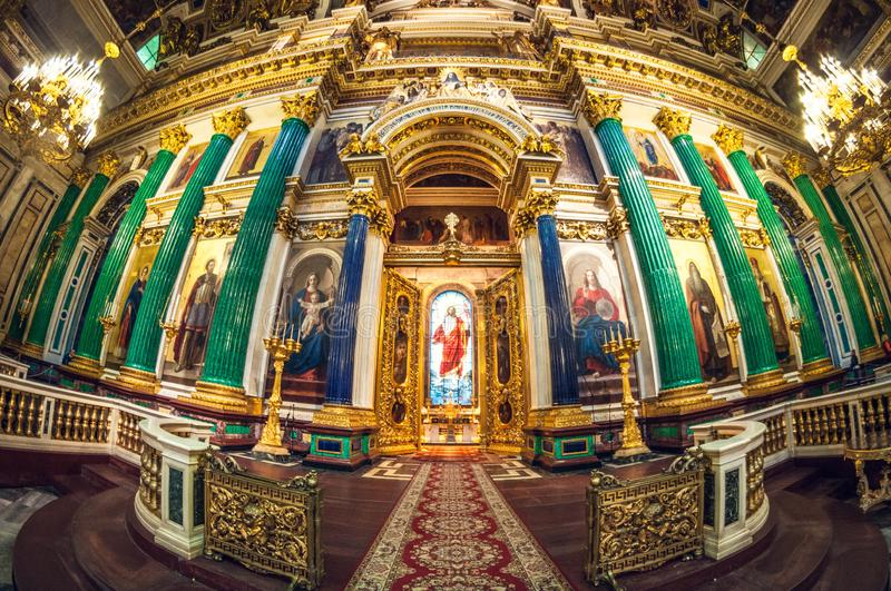 Saint Petersburg - May 19, 2016: Detail of interior of Saint Isaac`s Cathedral or Isaakievskiy Sobor. Russia, Saint Petersburg - May 19, 2016: Detail of interior royalty free stock photography