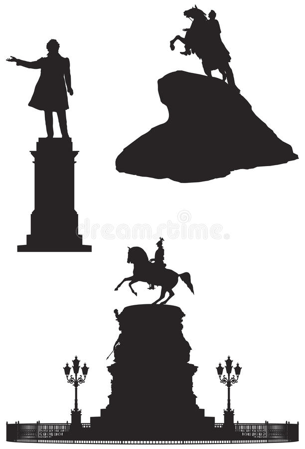 Saint Petersburg monuments, Russian Landmarks stock illustration