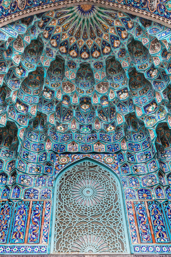 Saint Petersburg Mosque, mosaic of the portal stock images