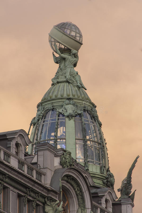 Saint-Petersburg Nevsky prospect. Historical centre.Decorative glass tower of Book (Zinger) house stock photography