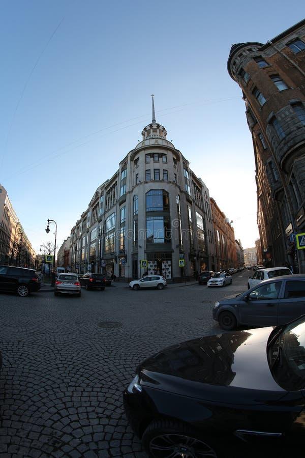 Saint Petersburg Nevsky Prospect sun clouds royalty free stock photo