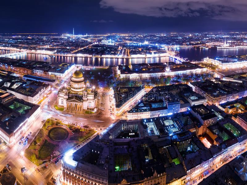 Saint Petersburg at night aerial panoramic view with Neva river and st Isaac Cathedral square royalty free stock images