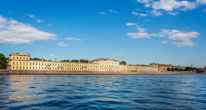 Saint Petersburg Polytechnic University Fundamental Library from the River Neva in St Petersburg. Russia on 23 July 2019 stock image