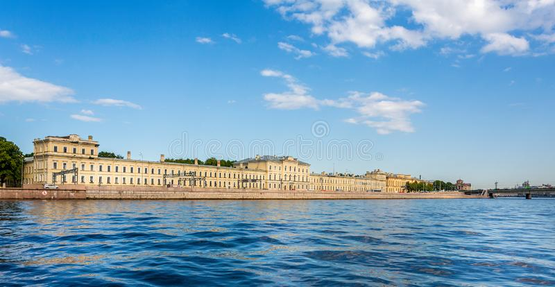 Saint Petersburg Polytechnic University Fundamental Library from the River Neva in St Petersburg. Russia on 23 July 2019 stock photography