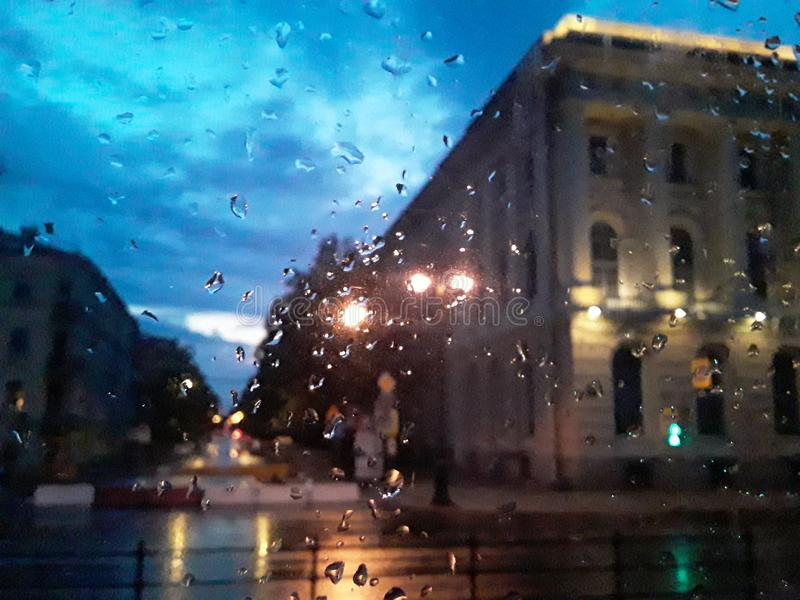 Saint-Petersburg. Rain, drops, window, city stock photos