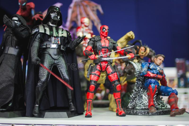 SAINT PETERSBURG, RUSSIA - APRIL 27, 2019: action figures. Star Wars characters and superheroes from the marvel movie royalty free stock photo