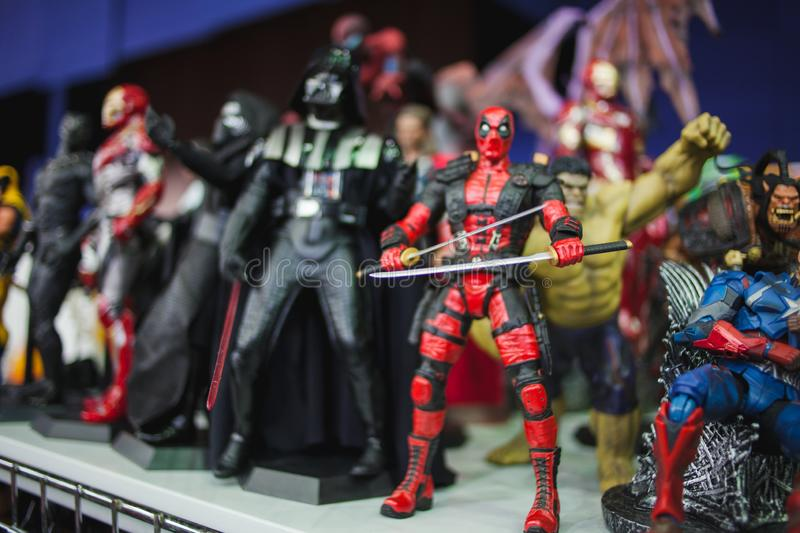SAINT PETERSBURG, RUSSIA - APRIL 27, 2019: action figures. Star Wars characters and superheroes from the marvel movie stock photography