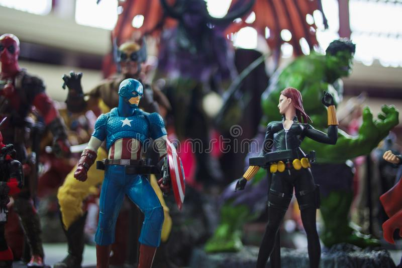 SAINT PETERSBURG, RUSSIA - APRIL 27, 2019: The Avengers team, Captain America and the Black Widow royalty free stock photography