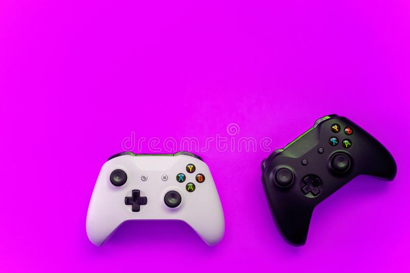 saint petersburg russia april black white joystick xbox one s gamepad game console purple background computer gaming 124245741