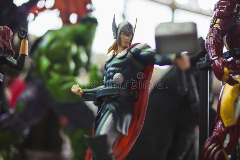 SAINT PETERSBURG, RUSSIA - APRIL 27, 2019: The Avengers team, Thor stock photography