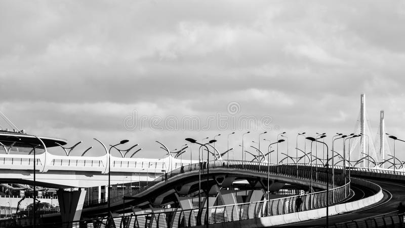 Saint-Petersburg, Russia - April, 2017: high-speed highway connected districts of the city the High-Speed Diameter-site under cons stock images