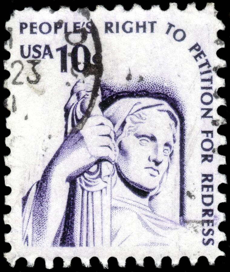 Saint Petersburg, Russia - April 01, 2020: Postage stamp issued in the United States with the image of the Contemplation of. Saint Petersburg, Russia - April 01 stock image