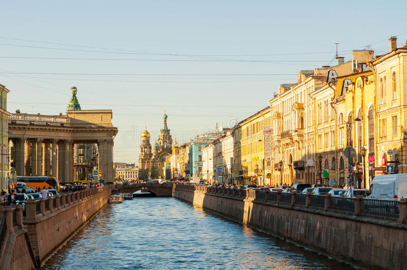 Historic landmarks along the Griboedov channel in Saint Petersburg, Russia stock photos