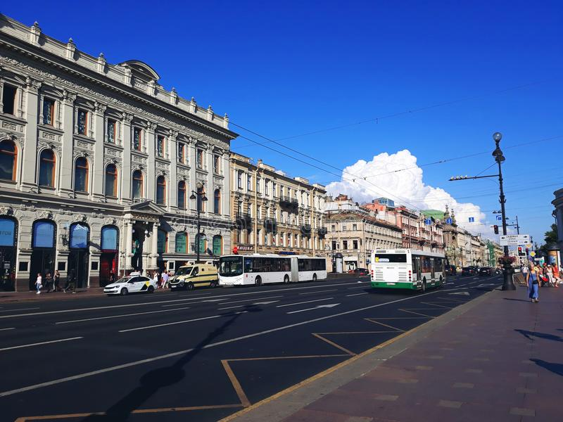 Nevsky Prospect, the main street in the city of St. Petersburg. Saint Petersburg, Russia - August 4, 2018: Nevsky Prospect, the main street in the city of St royalty free stock photography