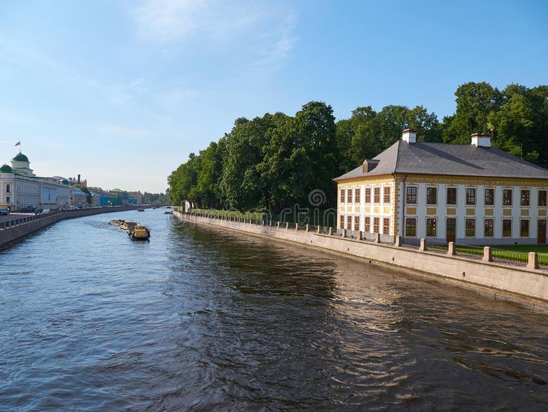 Fontanka River and Summer Palace of Peter the Great in Saint Petersburg, Russia stock images