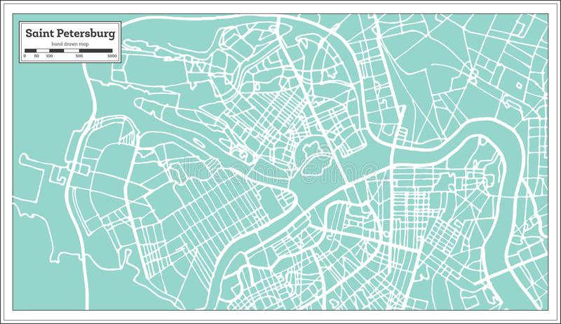 Saint Petersburg Russia City Map in Retro Style. Outline Map. vector illustration