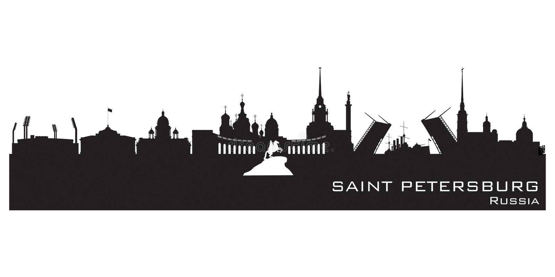 Saint Petersburg Russia city skyline Detailed silhouette vector illustration