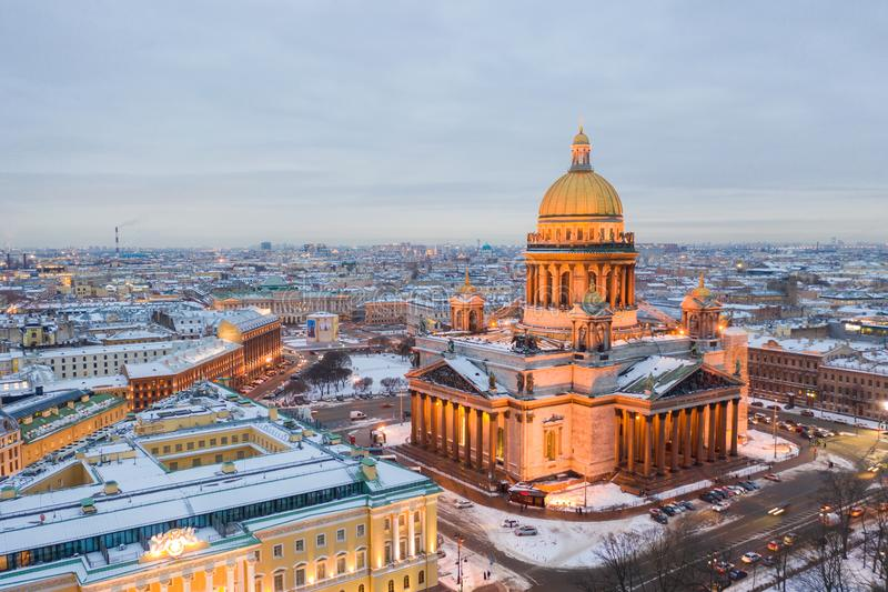 Saint Petersburg Russia, city skyline at Saint Isaac Cathedral royalty free stock images