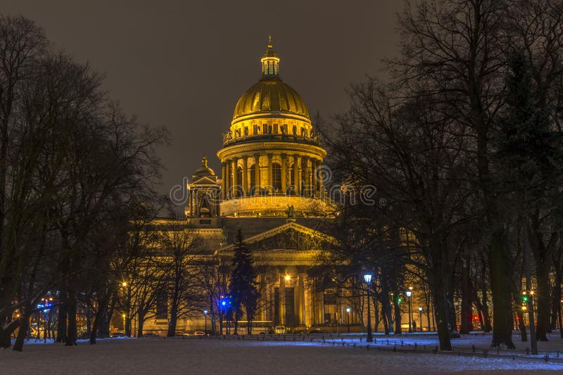 Saint Petersburg, Russia, 31 dec 2018. St. Isaac`s Cathedral on a winter`s night royalty free stock photos