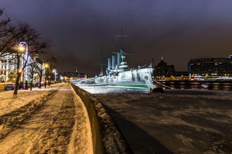 Saint- Petersburg, Russia, 23, December, 2017: Cruiser Aurora on a snowy evening royalty free stock image