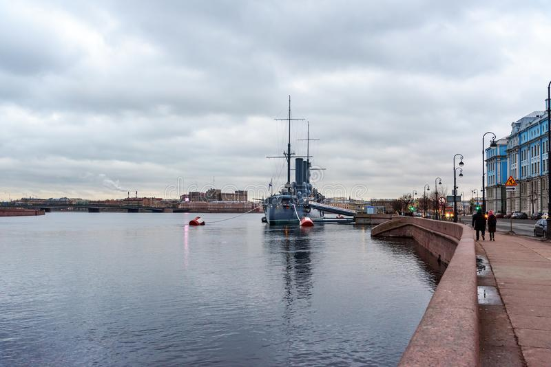 View of the Aurora Cruiser historical ship in the evening. Saint Petersburg, Russia stock photos