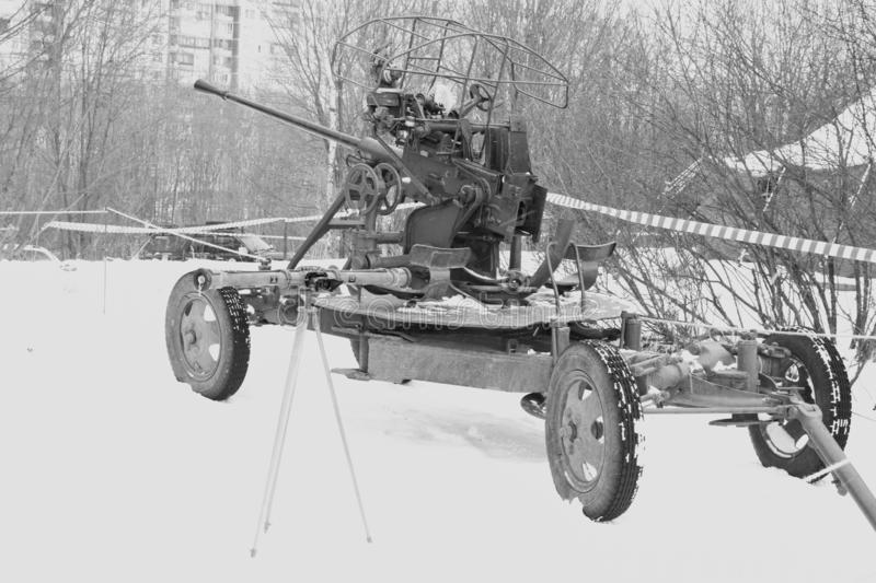 Saint Petersburg, Russia - February 25, 2017: Black and white image of the image of the Soviet 37-mm anti-aircraft gun 61 - to. Saint Petersburg, Russia royalty free stock photos