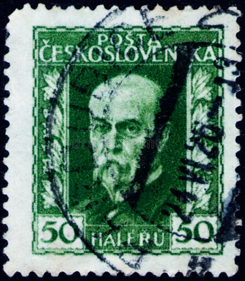 Saint Petersburg, Russia - February 01, 2020: Postage stamp issued in Czechoslovakia with the image of Tomash Garrigue Masaryk,. Saint Petersburg, Russia stock image