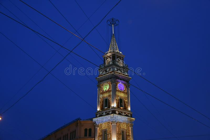 Fire tower on the Nevsky prospect in Saint-Petersburg decorated for Christmas. Saint Petersburg, Russia. Fire tower. Christmas and New Year 2019 decorations on royalty free stock photo