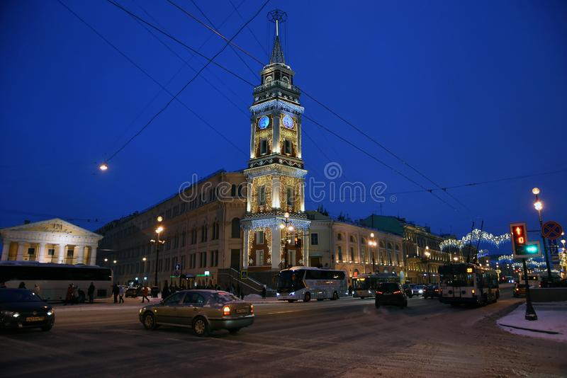 Fire tower on the Nevsky prospect in Saint-Petersburg decorated for Christmas. Saint Petersburg, Russia. Fire tower. Christmas and New Year 2019 decorations on royalty free stock images