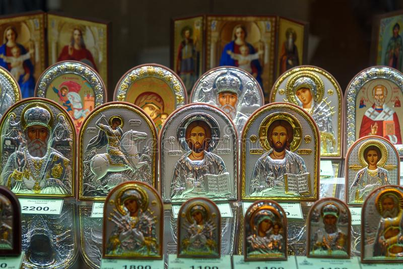 Iicons for sale in Saint Isaac`s Cathedral or Isaakievskiy Sobor in Saint Petersburg. Russia. Saint Petersburg, Russia - January 6, 2018: Iicons for sale in royalty free stock images