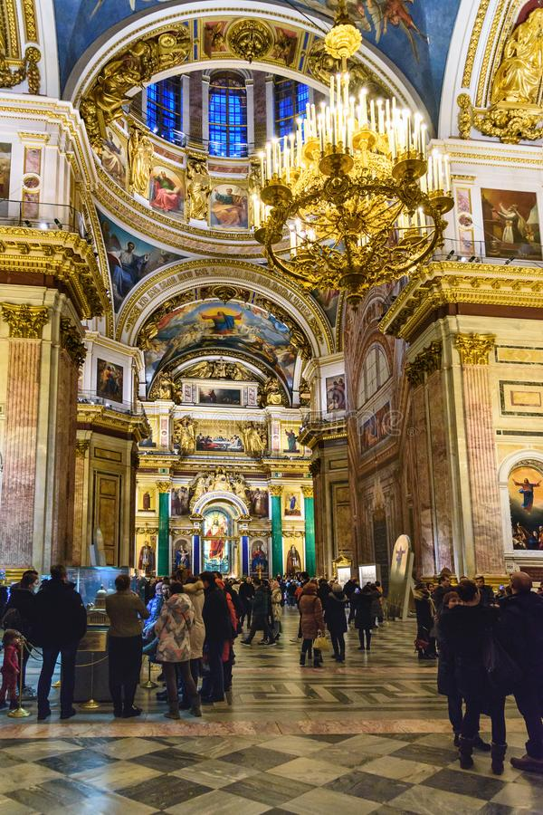 Interior of Saint Isaac`s Cathedral or Isaakievskiy Sobor in Saint Petersburg. Russia. Saint Petersburg, Russia - January 6, 2018: Interior of Saint Isaac`s stock images