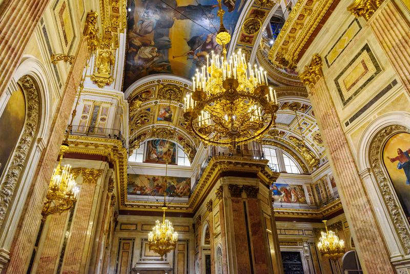 Interior of Saint Isaac`s Cathedral or Isaakievskiy Sobor in Saint Petersburg. Russia. Saint Petersburg, Russia - January 6, 2018: Interior of Saint Isaac`s royalty free stock photography