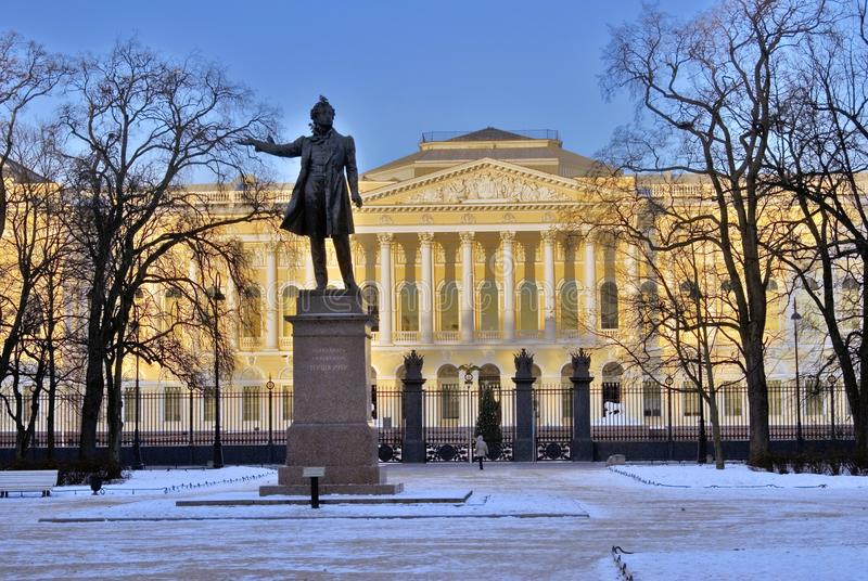 Monument to Aleksander Pushkin on the Square of Arts. stock photo