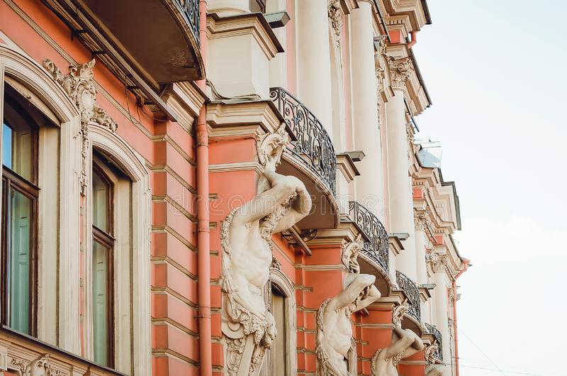 Beautiful historical architecture of the city of St. Petersburg. Details and elements of royalty free stock image
