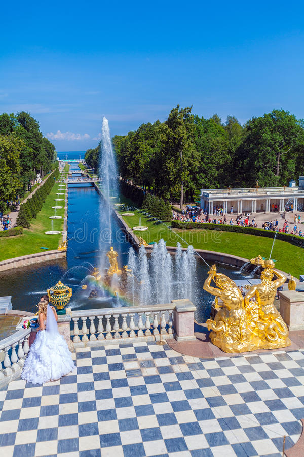 SAINT PETERSBURG, RUSSIA - JULY 27, 2014: The bride is standing royalty free stock photography