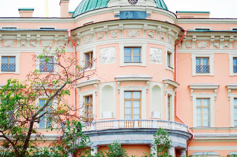 Details of beautiful old architecture, balcony and window. Historical buildings of St. royalty free stock photo