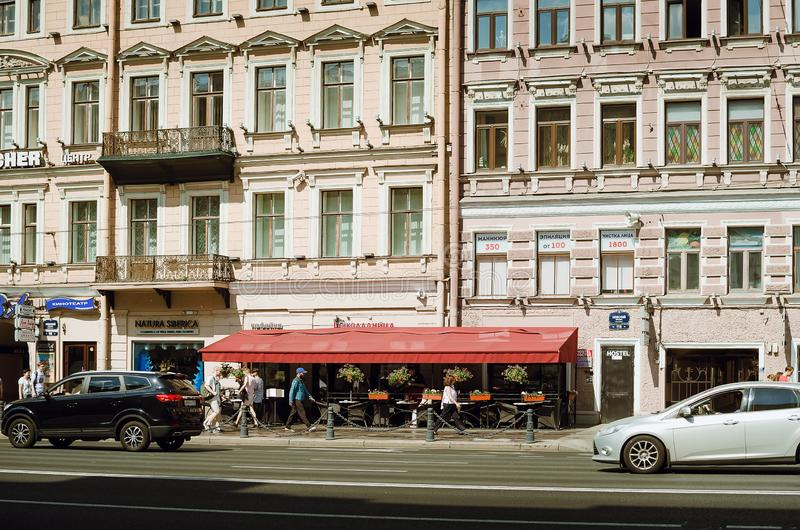Fragment of a beautiful historic building in St. Petersburg royalty free stock photo
