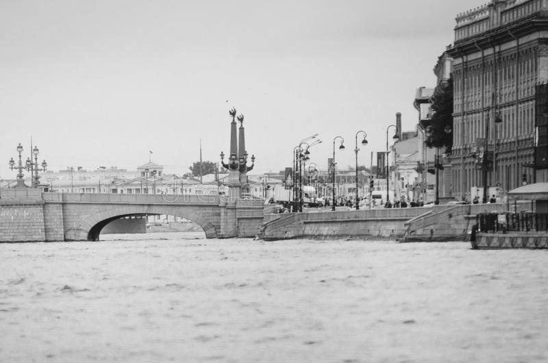 Sights of St. Petersburg. Beautiful historical architecture. Black and white photography royalty free stock images