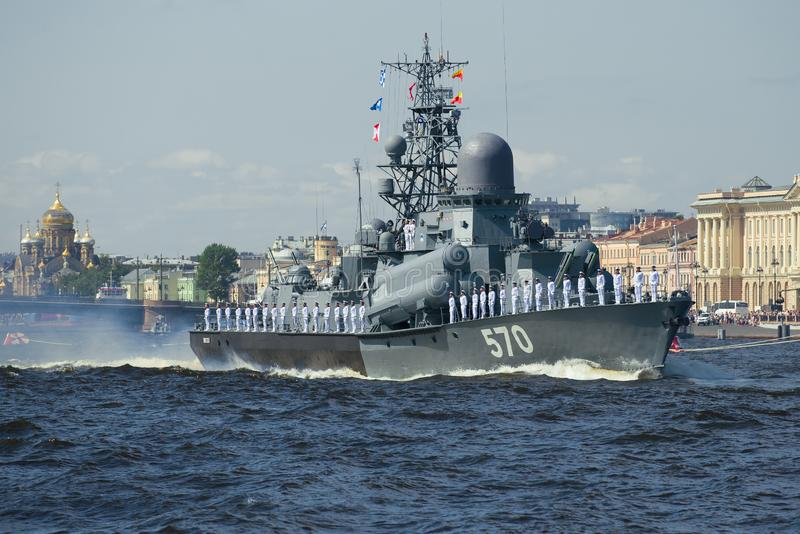 Small rocket ship `Passat`. SAINT-PETERSBURG, RUSSIA - JULY 25, 2019: Small rocket ship `Passat` on the rehearsal of the naval parade in honor of the Navy Day stock photo