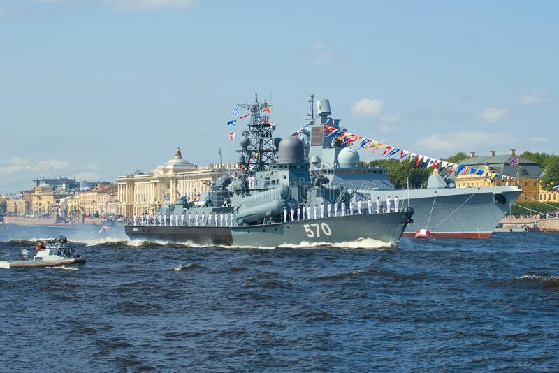 The small rocket ship `Passat` takes part in a naval parade. SAINT-PETERSBURG, RUSSIA - JULY 25, 2019: The small rocket ship `Passat` takes part in a naval royalty free stock photo