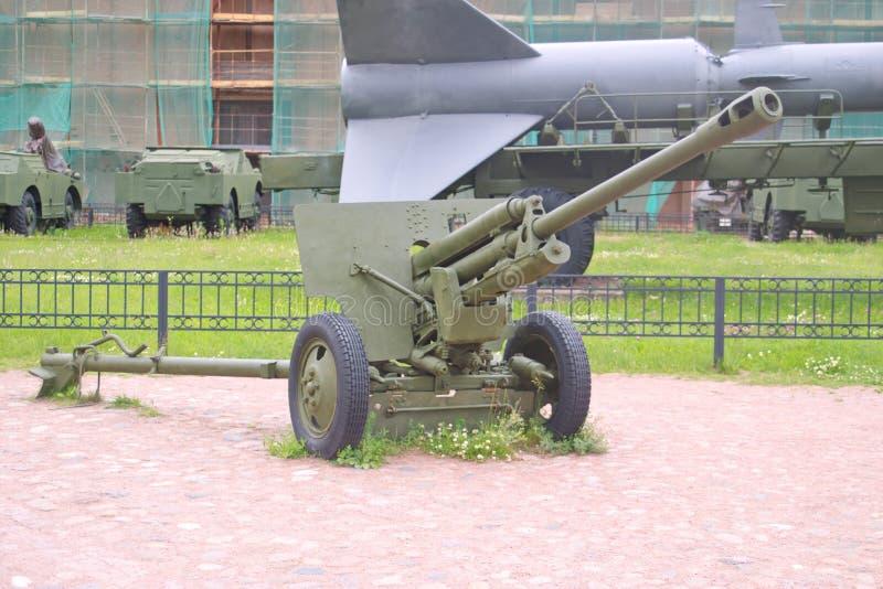 Saint Petersburg, Russia - July 07, 2017: Soviet 76 mm division anti-tank gun ZIS-3. Museum of artillery, engineering and royalty free stock image