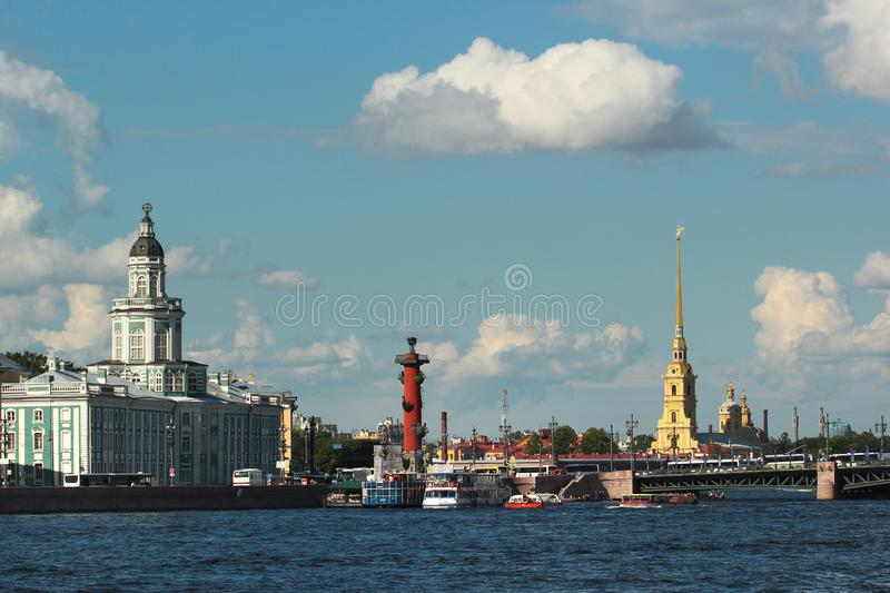 View of Kunstkamera and Peter and Paul Fortress in Saint Petersburg, Russia stock photo
